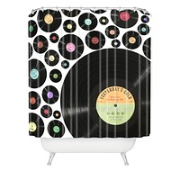 Belle13 Golden Oldies Vinyl Love Shower Curtain