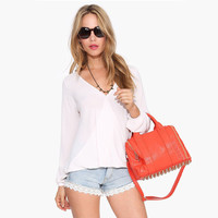 V-Neck Chiffon Long Sleeve Wrap Blouse