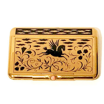 Yardley Compact Powder Rouge, Gold Tone Black Inlaid Enamel Design, Pegasus Horse Floral Motif, Fold Over Clasp, Collectible 1940s Vintage