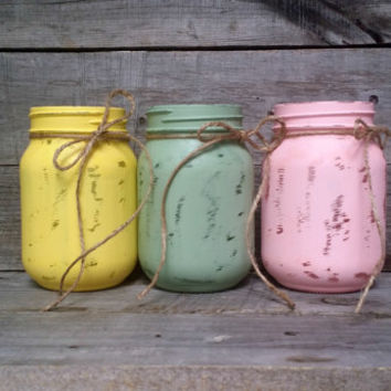 Distressed Pastel Color Easter Mason Jars, Easter Decor, Rustic Wedding Decor, Shower Favor, Rustic Home Decor, Baby Shower Decor, Set of 3
