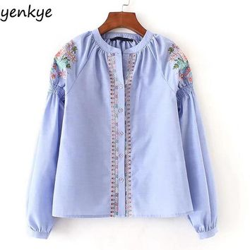 Women Embroidery Ethnic Blouse Long Sleeve Stand Collar High Street Blue Elegant Lady Office Shirts Chemise