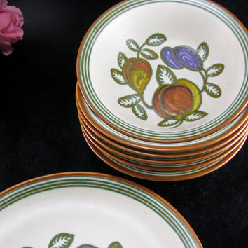 Gouda Holland Dutch Pottery, Dutch Art Pottery, Folk Ark Fruit Design, Vintage 1920s Set/7, Gouda Gate House
