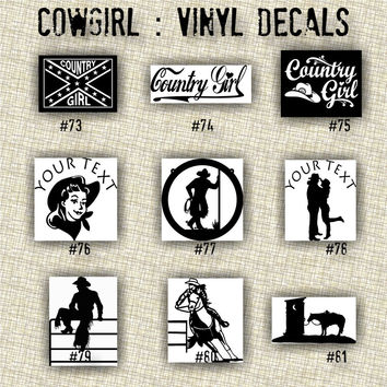 COWGIRL vinyl decals | country western | country girl | car decals | car stickers | laptop sticker - 73-81
