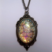 Antiqued Bronze - Silver White - Color Embeded Cabochon Necklace - Vibrant Iridescent Glow - Color Shift - Violet - Blue Green - Yellow Gold