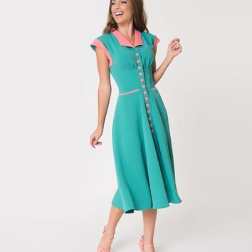 Miss Candy Floss Jade Green & Pink Trim Daniela Textured Shirtdress