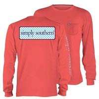 Simply Southern Preppy Collection Logo Long Sleeve Tee in Coral LS-SSLOGO-CORAL