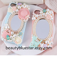 Kawaii Girl Mirror pearl handmade iphone 5 cases,pearl iphone 4,4s covers