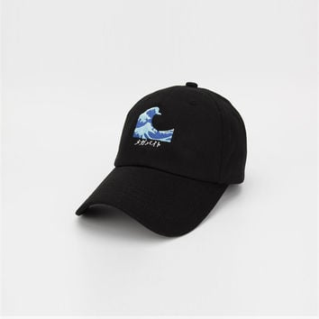Yung Lean Sad Boys Wave Embroidery Vaporwave Strapback Patchwork Cap Swag Gorras Black Dad Hat for Men & Women Adjustable Fishing Cap