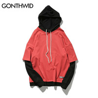 Two Piece Patchwork Hoodies Men Autumn Winter Hip Hop Long Sleeve Pullover Hooded Sweatshirts Swag Red Black