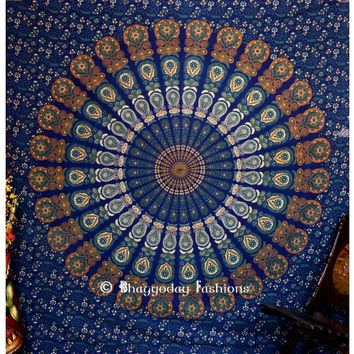 Unique Designs Blue and Golden Bohemian Indian Mandala Tapestry Throws