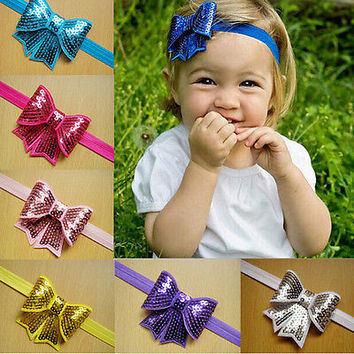 Baby Girls Kid Headband Sequin Bowknot Hair Band Bow  Accessories Headwear 3C