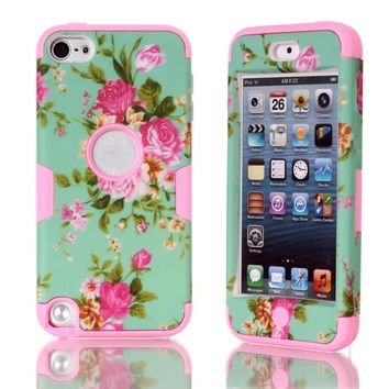 iPod Touch 5 Case,touch 5 case,Touch iPod 5 case,Flipcase Touch 5 case 3in1 Beautiful Flowers Picture Hybrid Cover Case Suitable Fit For iPod Touch 5th Generation,iPod Touch 5