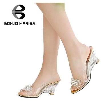 Big Size 34-43 Women Sandals Sexy Rhinestone High Heel Cutout Wedges Transparent Upper