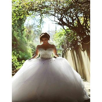 2017 Long Sleeve Wedding Dress vestidos de noiva Ball Gown Bridal Gowns Lace-up Back Luxury Wedding Dress for Brides