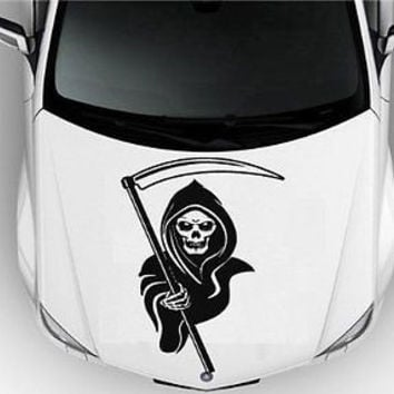 Grim Reaper Hood Auto Car Vinyl Decal Stickers Death Sign 7514
