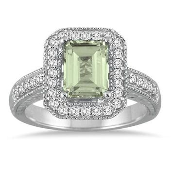 1.75 Carat Emerald Cut Green Amethyst  and Diamond Ring in 14k White G