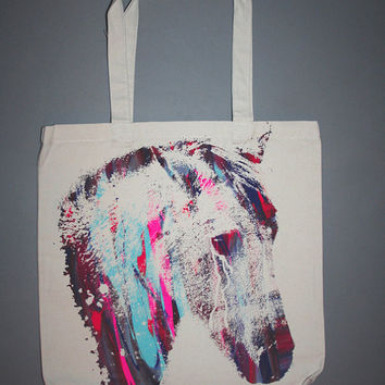 horse, horse tote, screenprinted bag, canvas tote, screenprinted tote,multicolor design, multicolor print, netural tote w multicolor horse