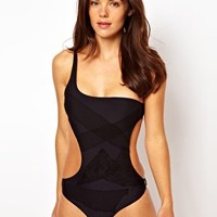 Tripp NYC Lace Net One Piece Swimsuit at asos.com