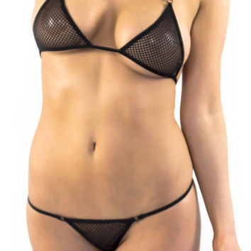 Black fishnet Micro Bikini g string bottom