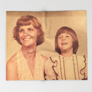 Mother's Day Photo Blanket, Printed Throw, Vintage Look Home Decor, Adult Blanket