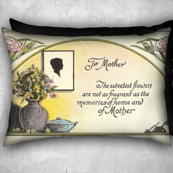 Mother's Day Decorative Pillow Cover Silhouette Vase of Flowers and Verse ~ Velveteen  Pillow Cover 20x14 Lumbar Pillow  Home Décor