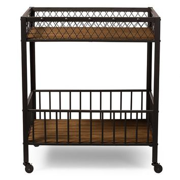 Baxton Studio Bentley Antiqued Vintage Industrial Metal and Wood Wheeled Kitchen Serving Cart Set of 1