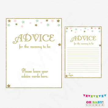 Twinkle Twinkle Little Star Baby Shower, Mom Advice Cards, Pink Mint Gold Baby Shower, Glitter Stars, Girl Baby Shower, Advice Parents STPMG