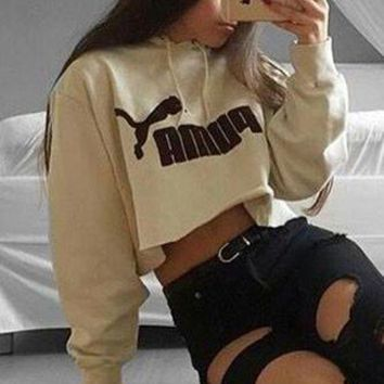 PUMA Fashion Casual Long Sleeve Hooded Crop Top Sweater Pullover Hoodie G