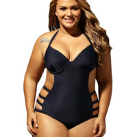 Black hanging neck band plus big fat woman party swimsuit