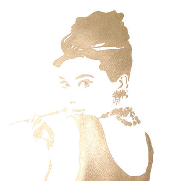 Original GOLDEN or SILVER Audrey Hepburn silhouette watercolor. Audrey Hepburn Poster, art print, Wall bedroom art, wall art, bedroom decor