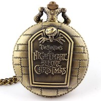 Hot Christmas Nightmare Before Christmas vintage antique pendant necklace quartz pocket watch Halloween Gift Dropshipping P49