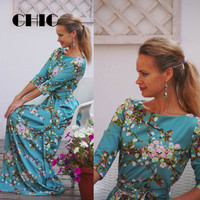 CHIC Vintage Maternity Maxi Dress Floral Print Women's 3/4 Sleeve O-Neck Pregnant Romantic High Waist Party Gown Dress with Belt