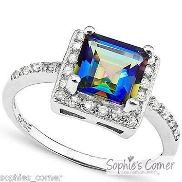 Gleaming & Majestic Ocean Mystic Topaz Ring - Platinum over Sterling Silver