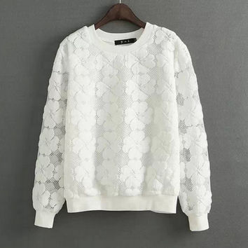 Casual Round Neck Hedging Sweatshirt Women Lace Hollow Out Female Hoodies Loose All-Match Bottoming Sudaderas S~XL