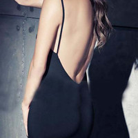 Spaghetti Strap Backless Bodycon Black Dress