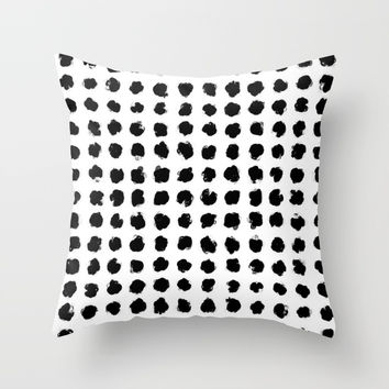 Black and White Minimal Minimalistic Polka Dots Brush Strokes Painting Throw Pillow by AEJ Design