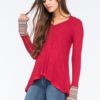 Others Follow Medley Knit Womens Top Dark Red  In Sizes