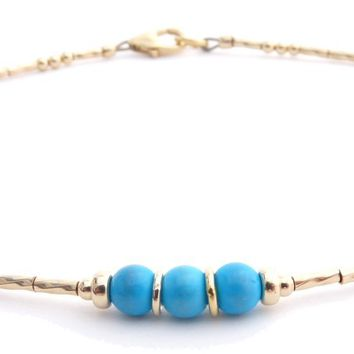 Turquoise 14k Gold Filled Minimalist Dainty Anklet March Birthstone