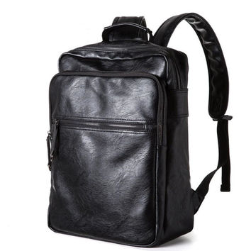 New 2016 Oil Wax Leather Backpacks Western College Style Fashion Bag For Men Outdoor Travel Mochila Zip Daily Rucksack 66ZS