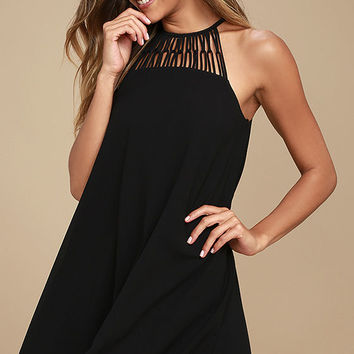 Tell Me Black Swing Dress