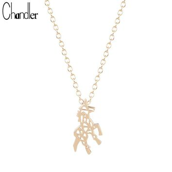Chandler Silver Plated Unicorn Pendant Necklaces For Women Hollow Zebra Charm Body Long Chain Statement Love Homme Femme Bijoux