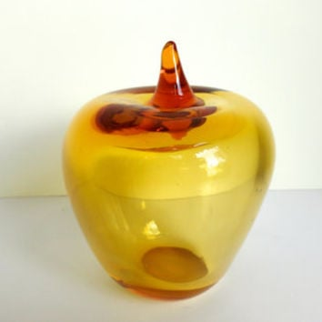 Blown Glass Apple Paperweight