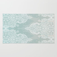 Lace & Shadows - soft sage grey & white Moroccan doodle Rug by Micklyn