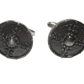 Gunmetal Toned Round Medieval Shield Cufflinks