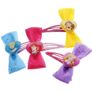 Disney Princess Shimmering Hair Bows- 4 Pack