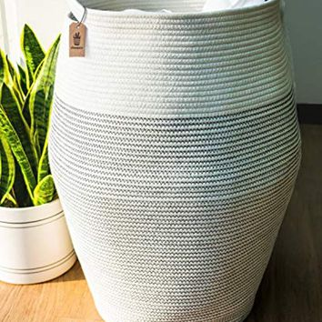 """Goodpick Woven Cotton Rope Curver Laundry Basket Large, 25.6"""" Height"""