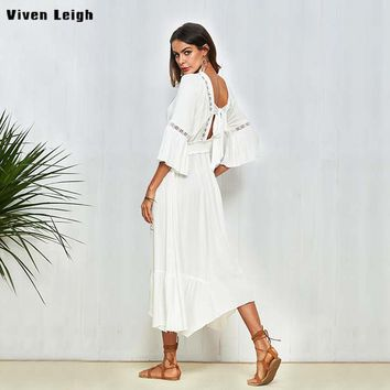 Elegant White Dress Loose Casual Irregular V Neck High Waist Boho Dress Women Summer Dresses Sexy Backless Bow Tie Beach vestido