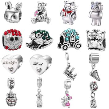 free shipping 1pc silver european dress bear rabbit friend frog  diy bead&jewelry marking Fits Pandora Charm Bracelets mix043