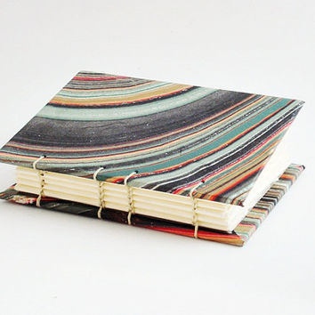 Handbound Marble Journal or Notebook - Blank Book Hand Bound in a Coptic Stitch Opens Flat Mini