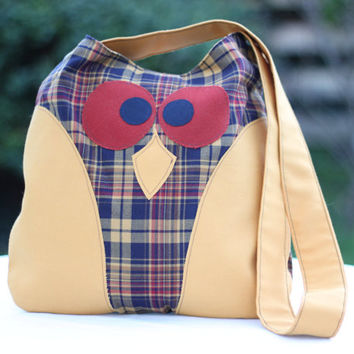 Owl Handbag / Yellow Bag / Owl Shoulder Bag / Shoulder Bag / Owl Tote Bag / Owl / Owl Purse / Patterned Owl Bag / Handmade Bag / Summer Bag